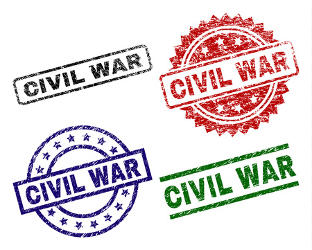 CIVIL WAR seal stamps with damaged surface. Black, green,red,blue vector rubber prints of CIVIL WAR text with dirty surface. Rubber seals with circle, rectangle, rosette shapes.
