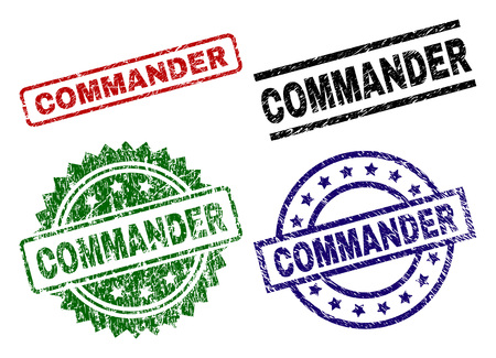 COMMANDER seal imprints with corroded style. Black, green,red,blue vector rubber prints of COMMANDER tag with corroded surface. Rubber seals with circle, rectangle, medal shapes.