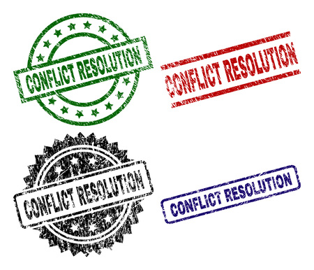 CONFLICT RESOLUTION seal prints with distress texture. Black, green,red,blue vector rubber prints of CONFLICT RESOLUTION caption with scratched texture. Rubber seals with circle, rectangle,