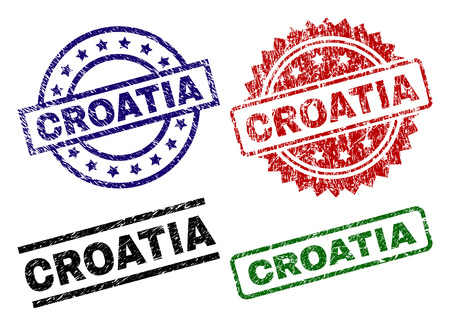 CROATIA seal prints with distress surface. Black, green,red,blue vector rubber prints of CROATIA title with grunge surface. Rubber seals with round, rectangle, rosette shapes. Vectores