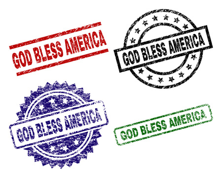 GOD BLESS AMERICA seal prints with distress texture. Black, green,red,blue vector rubber prints of GOD BLESS AMERICA text with dirty style. Rubber seals with circle, rectangle, rosette shapes.
