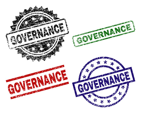 GOVERNANCE seal prints with corroded texture. Black, green,red,blue vector rubber prints of GOVERNANCE text with grunge texture. Rubber seals with circle, rectangle, medallion shapes.