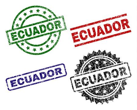 ECUADOR seal prints with damaged texture. Black, green,red,blue vector rubber prints of ECUADOR title with corroded texture. Rubber seals with circle, rectangle, rosette shapes.