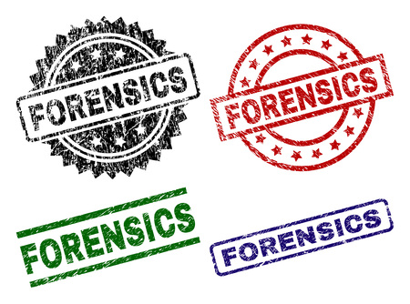 FORENSICS seal imprints with distress style. Black, green,red,blue vector rubber prints of FORENSICS text with dust style. Rubber seals with round, rectangle, medal shapes. Illustration