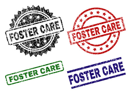 FOSTER CARE seal stamps with distress texture. Black, green,red,blue vector rubber prints of FOSTER CARE label with grunge texture. Rubber seals with circle, rectangle, rosette shapes.