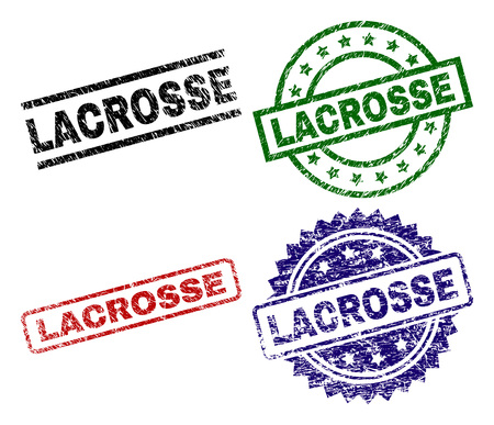 LACROSSE seal prints with distress texture. Black, green,red,blue vector rubber prints of LACROSSE tag with corroded texture. Rubber seals with round, rectangle, medallion shapes.