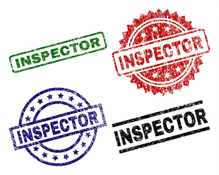 INSPECTOR seal prints with damaged texture. Black, green,red,blue vector rubber prints of INSPECTOR title with scratched texture. Rubber seals with circle, rectangle, medallion shapes.