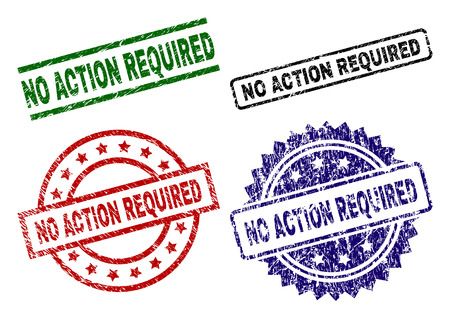NO ACTION REQUIRED seal prints with damaged surface. Black, green,red,blue vector rubber prints of NO ACTION REQUIRED title with dirty surface. Rubber seals with circle, rectangle, medallion shapes.