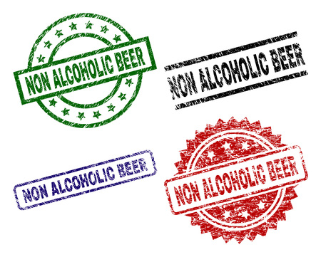 NON ALCOHOLIC BEER seal prints with corroded texture. Black, green,red,blue vector rubber prints of NON ALCOHOLIC BEER label with corroded texture. Rubber seals with circle, rectangle, rosette shapes.