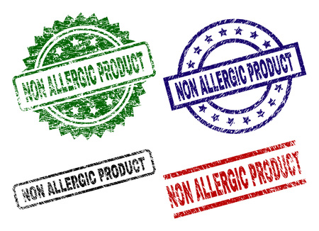 NON ALLERGIC PRODUCT seal prints with distress style. Black, green,red,blue vector rubber prints of NON ALLERGIC PRODUCT label with dirty style. Rubber seals with round, rectangle, rosette shapes.
