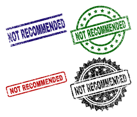 NOT RECOMMENDED seal prints with damaged style. Black, green,red,blue vector rubber prints of NOT RECOMMENDED label with unclean style. Rubber seals with circle, rectangle, rosette shapes. Illustration