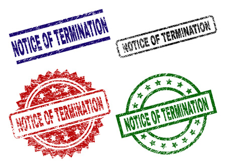 NOTICE OF TERMINATION seal imprints with corroded style. Black, green,red,blue vector rubber prints of NOTICE OF TERMINATION tag with corroded texture. Rubber seals with round, rectangle,
