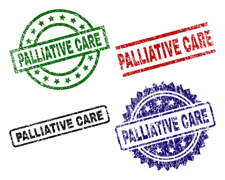 PALLIATIVE CARE seal prints with distress surface. Black, green,red,blue vector rubber prints of PALLIATIVE CARE caption with dirty surface. Rubber seals with circle, rectangle, rosette shapes.