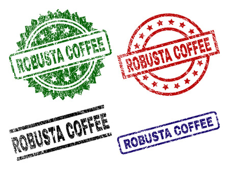 ROBUSTA COFFEE seal prints with distress texture. Black, green,red,blue vector rubber prints of ROBUSTA COFFEE label with retro texture. Rubber seals with circle, rectangle, rosette shapes.