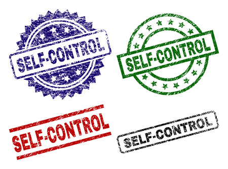 SELF-CONTROL seal prints with damaged style. Black, green,red,blue vector rubber prints of SELF-CONTROL text with scratched style. Rubber seals with round, rectangle, medal shapes. 일러스트