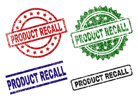 PRODUCT RECALL seal stamps with damaged texture. Black, green,red,blue vector rubber prints of PRODUCT RECALL caption with dirty texture. Rubber seals with round, rectangle, medal shapes.
