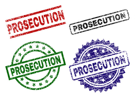 PROSECUTION seal prints with damaged surface. Black, green,red,blue vector rubber prints of PROSECUTION caption with scratched surface. Rubber seals with circle, rectangle, rosette shapes. Illustration