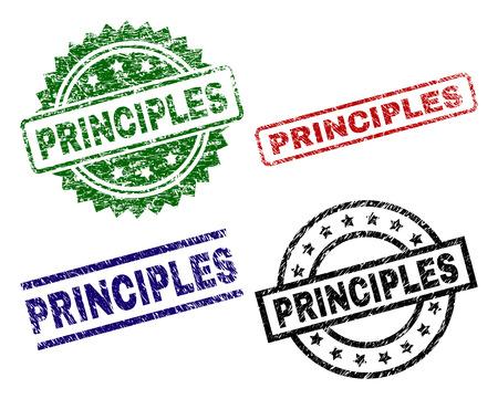 PRINCIPLES Siegeldrucke im Distress-Stil. Schwarze, grüne, rote, blaue Vektorgummidrucke des PRINCIPLES-Tags mit zerkratztem Stil. Gummidichtungen mit runden, rechteckigen, rosettenförmigen Formen. Vektorgrafik