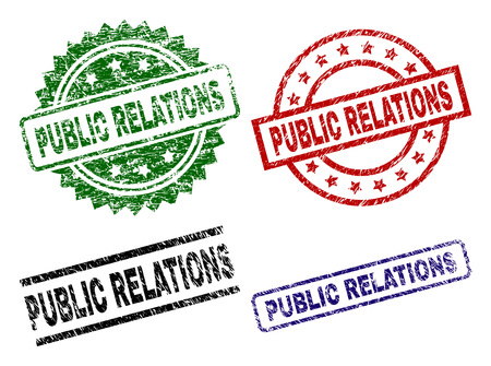 PUBLIC RELATIONS seal prints with damaged texture. Black, green,red,blue vector rubber prints of PUBLIC RELATIONS label with scratched texture. Rubber seals with round, rectangle, medal shapes.