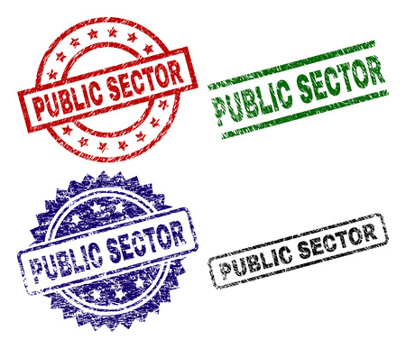 PUBLIC SECTOR seal prints with distress style. Black, green,red,blue vector rubber prints of PUBLIC SECTOR title with dirty surface. Rubber seals with circle, rectangle, medal shapes. Иллюстрация