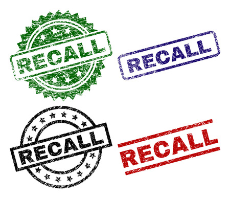 RECALL seal prints with damaged style. Black, green,red,blue vector rubber prints of RECALL text with dust surface. Rubber seals with round, rectangle, rosette shapes.