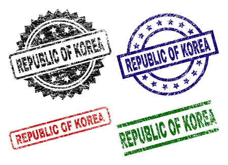 REPUBLIC OF KOREA seal prints with damaged surface. Black, green,red,blue vector rubber prints of REPUBLIC OF KOREA caption with unclean surface. Rubber seals with circle, rectangle, medal shapes.