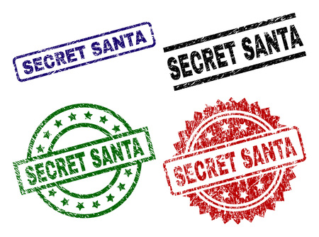 SECRET SANTA seal prints with damaged style. Black, green,red,blue vector rubber prints of SECRET SANTA label with dust style. Rubber seals with round, rectangle, rosette shapes.