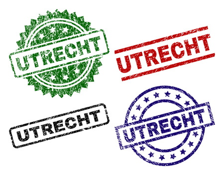 UTRECHT seal prints with corroded surface. Black, green,red,blue vector rubber prints of UTRECHT tag with dust surface. Rubber seals with round, rectangle, rosette shapes. Illustration