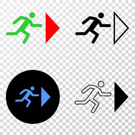 Icono de vector Eps de persona de salida con versiones de contorno, negro y color El estilo de la ilustración es un símbolo icónico plano sobre fondo transparente de ajedrez. Ilustración de vector