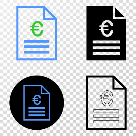 Euro price page vector icon with contour, black and colored versions. Illustration style is flat iconic symbol on chess transparent background.