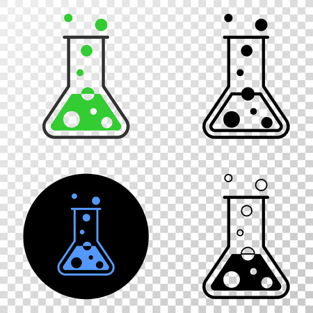 Chemical retort vector pictogram with contour, black and colored versions. Illustration style is flat iconic symbol on chess transparent background. Illustration
