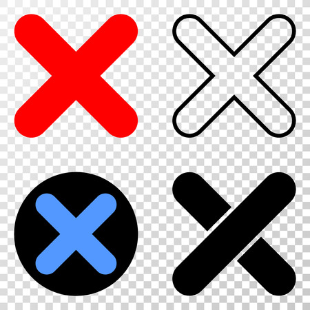 X-cross vector pictograph with contour, black and colored versions. Illustration style is flat iconic symbol on chess transparent background. Ilustração