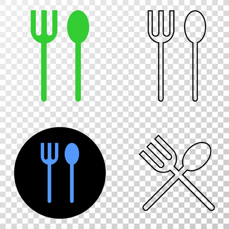 Spoon and fork vector icon with contour, black and colored versions. Illustration style is flat iconic symbol on chess transparent background.
