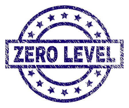 ZERO LEVEL seal imprint with dirty texture. Designed with rectangle, circles and stars. Blue vector rubber print of ZERO LEVEL title with scratched texture.