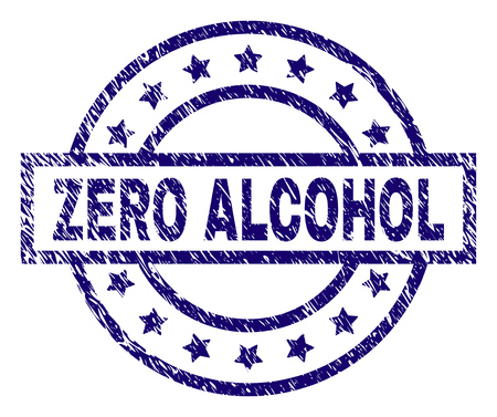 ZERO ALCOHOL seal imprint with dirty texture. Designed with rectangle, circles and stars. Blue vector rubber print of ZERO ALCOHOL caption with dust texture. Çizim