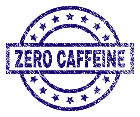 ZERO CAFFEINE seal watermark with dirty texture. Designed with rectangle, circles and stars. Blue vector rubber print of ZERO CAFFEINE label with dirty texture. Çizim