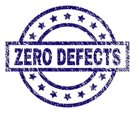 ZERO DEFECTS seal print with grunge texture. Designed with rectangle, circles and stars. Blue vector rubber print of ZERO DEFECTS label with grunge texture.