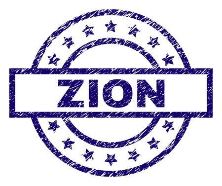 ZION seal print with distress texture. Designed with rectangle, circles and stars. Blue vector rubber print of ZION text with retro texture.