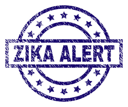 ZIKA ALERT seal stamp with grunge texture. Designed with rectangle, circles and stars. Blue vector rubber print of ZIKA ALERT text with grunge texture.