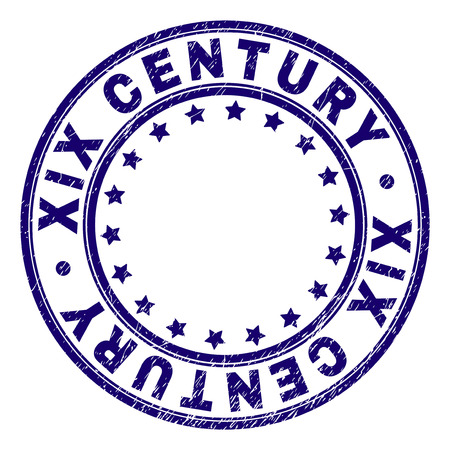 XIX CENTURY stamp seal imprint with grunge texture. Designed with circles and stars. Blue vector rubber print of XIX CENTURY label with dirty texture.