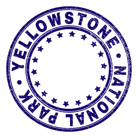 YELLOWSTONE NATIONAL PARK stamp seal watermark with grunge texture. Designed with circles and stars. Blue vector rubber print of YELLOWSTONE NATIONAL PARK caption with retro texture. Illustration