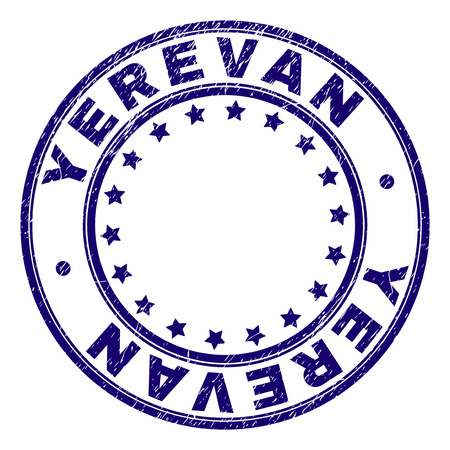 YEREVAN stamp seal watermark with grunge texture. Designed with round shapes and stars. Blue vector rubber print of YEREVAN tag with dust texture. Illustration