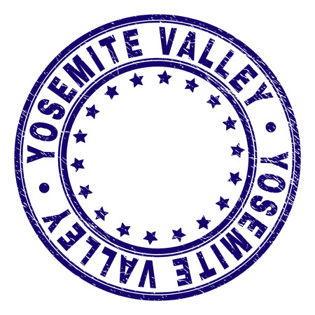 YOSEMITE VALLEY stamp seal watermark with grunge texture. Designed with circles and stars. Blue vector rubber print of YOSEMITE VALLEY text with grunge texture. Ilustrace