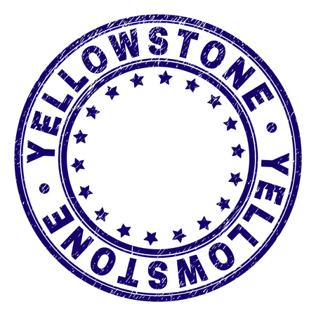 YELLOWSTONE stamp seal watermark with distress texture. Designed with circles and stars. Blue vector rubber print of YELLOWSTONE text with scratched texture.