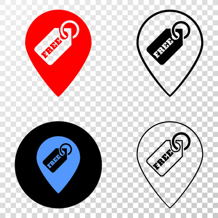 Free tag marker EPS vector pictograph with contour, black and colored versions. Illustration style is flat iconic symbol on chess transparent background.