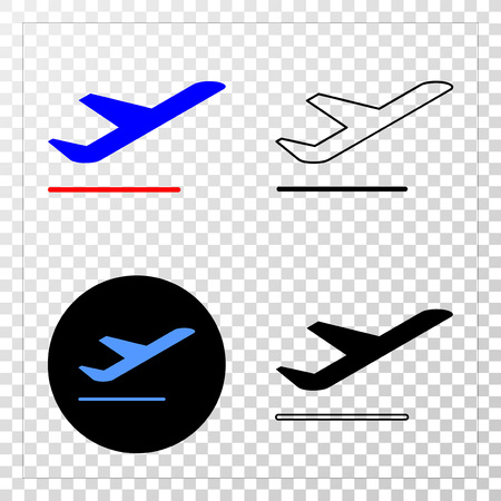 Airplane departure vector pictograph with contour, black and colored versions. Illustration style is flat iconic symbol on chess transparent background.
