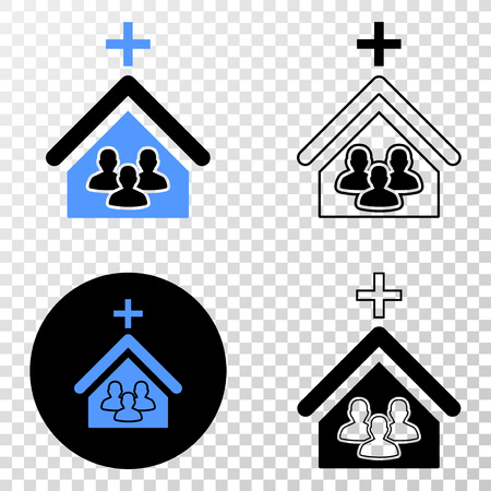 Church people vector icon with contour, black and colored versions. Illustration style is flat iconic symbol on chess transparent background.