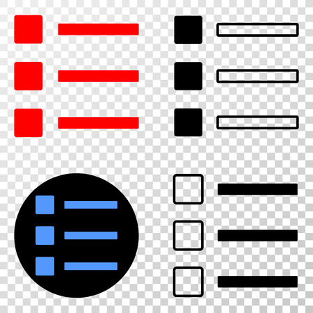 List items vector icon with contour, black and colored versions. Illustration style is flat iconic symbol on chess transparent background.