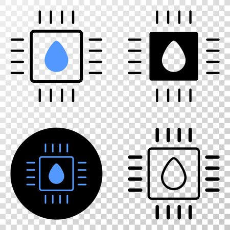 Liquid processor vector pictogram with contour, black and colored versions. Illustration style is flat iconic symbol on chess transparent background.