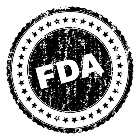 FDA seal print with distress texture. Black vector rubber print of FDA label with scratched texture. Rubber seal imitation has circle shape and contains stars.